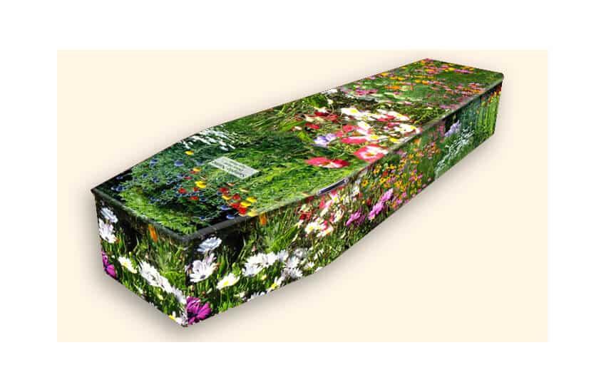 Casket with a floral design on
