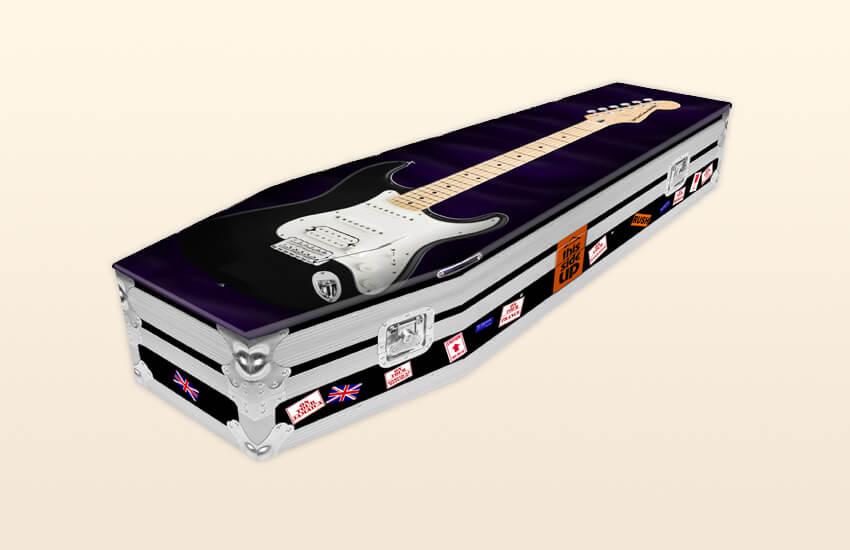 Casket with a guitar design on