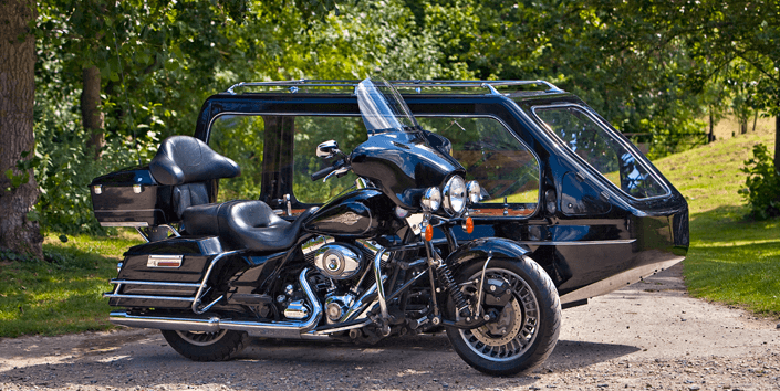 motorbike with side car hearse