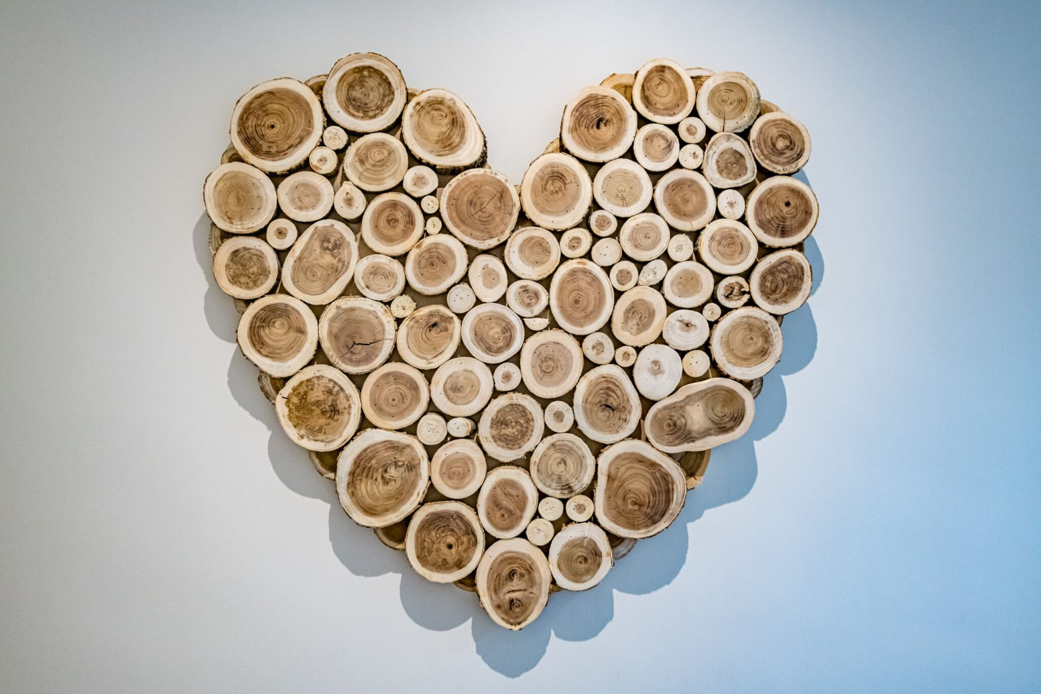 Heart made from logs