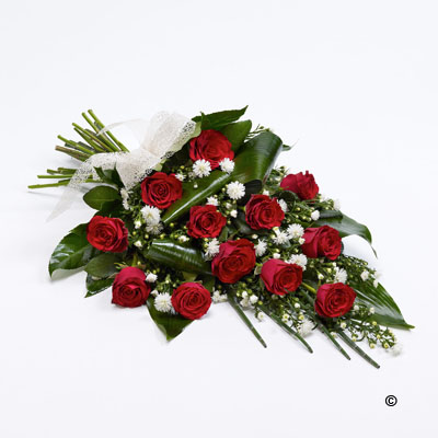 Red Roses and white flowers arrangement