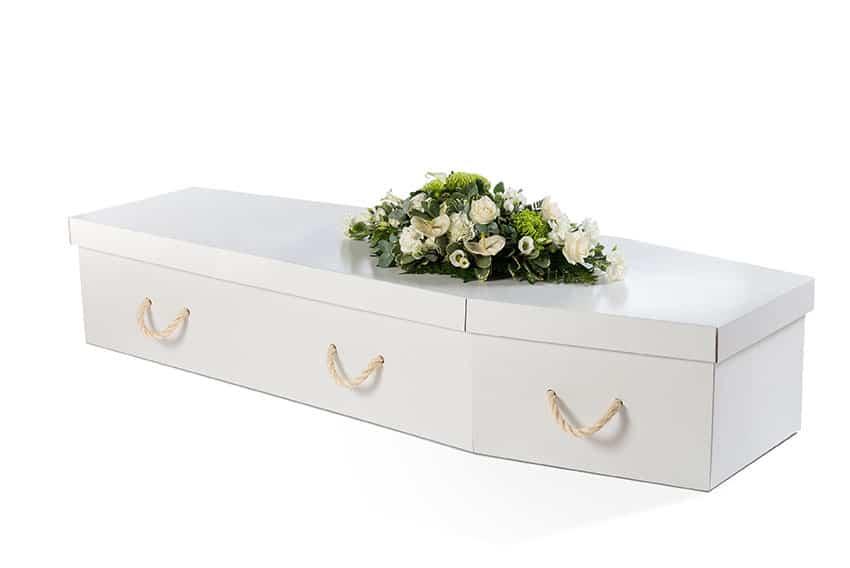 White cardboard coffin