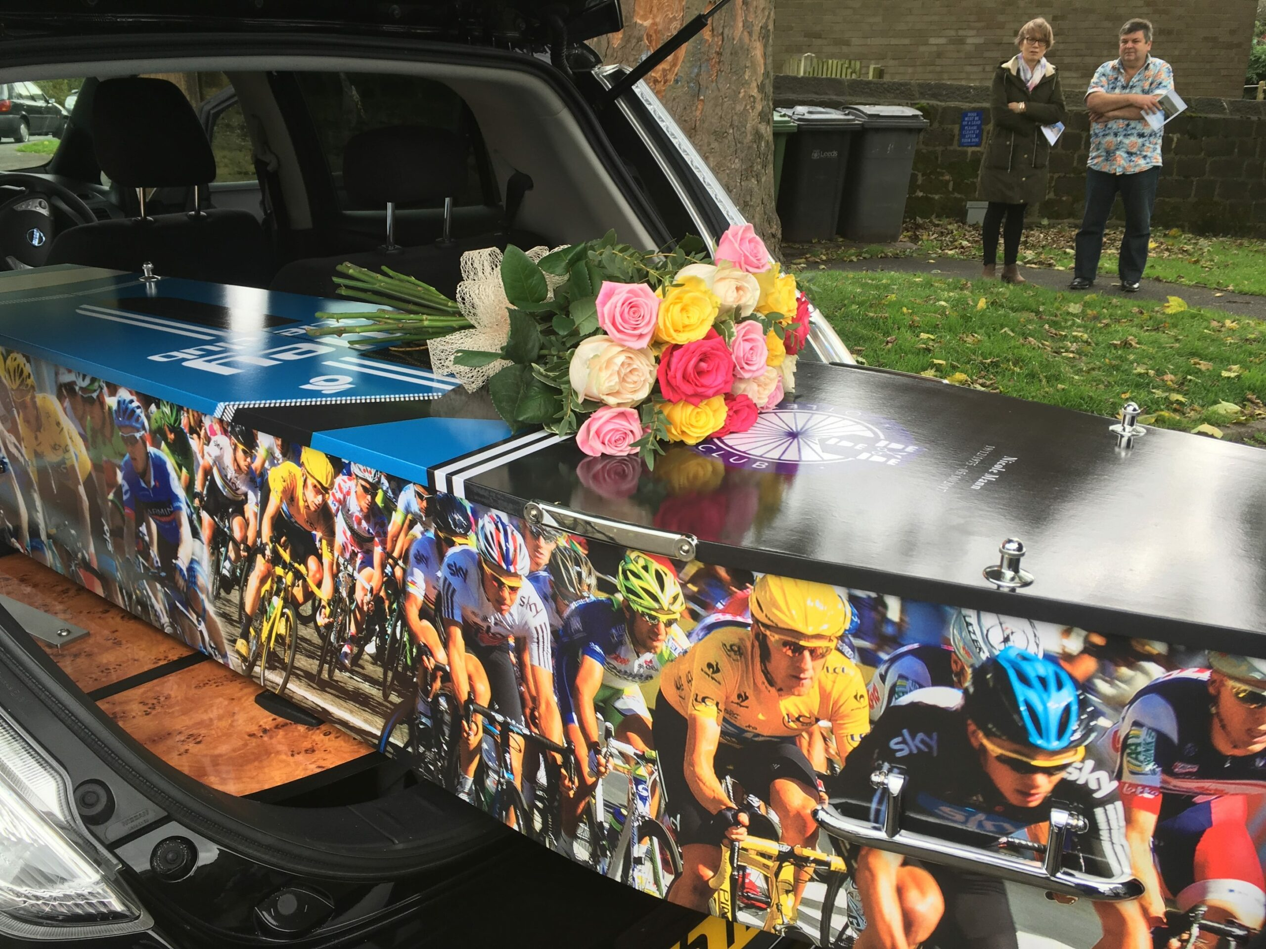 Custom coffin with cycling on