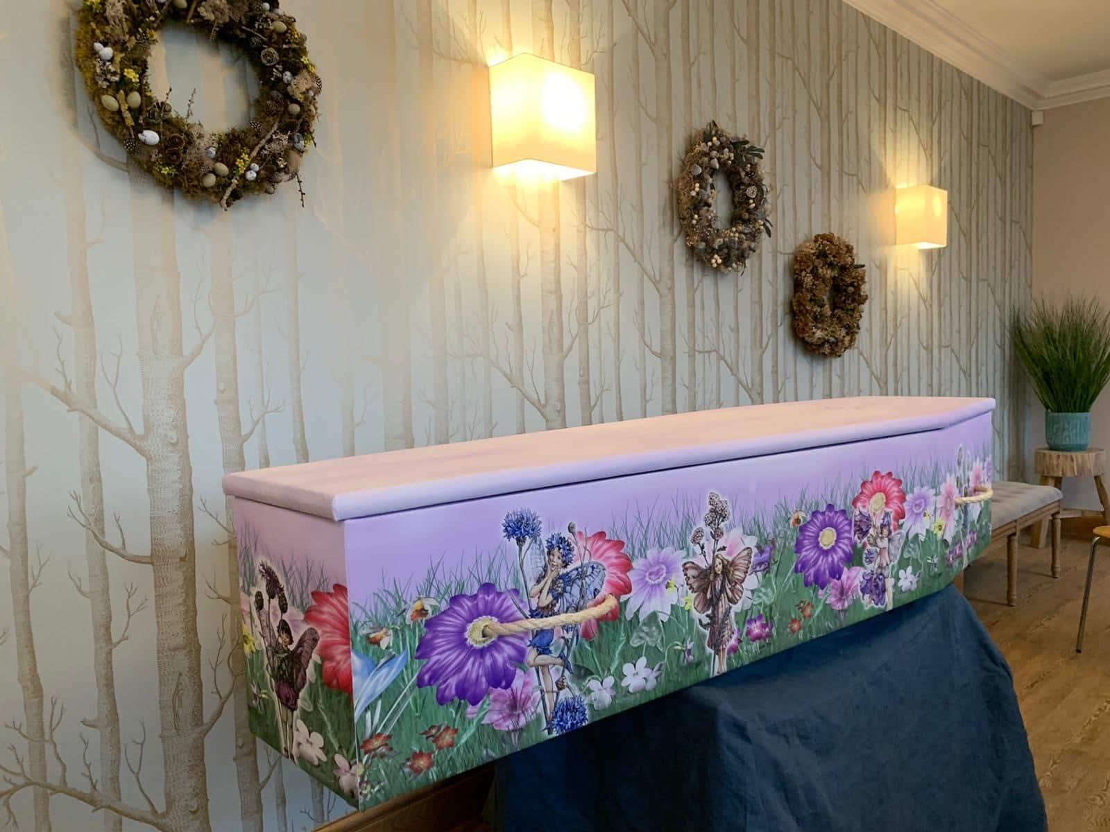 Custom coffin with fairies on