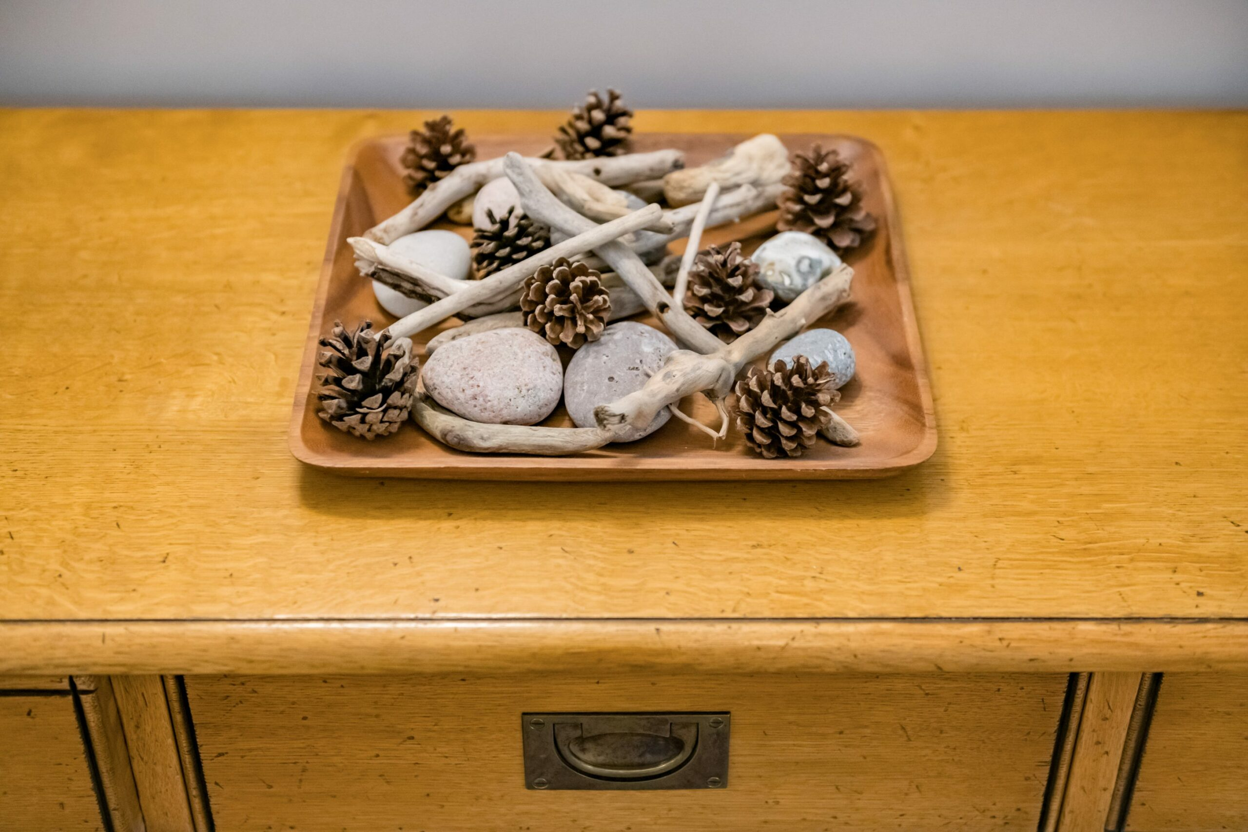 Cabinet with pine cones and sticks on