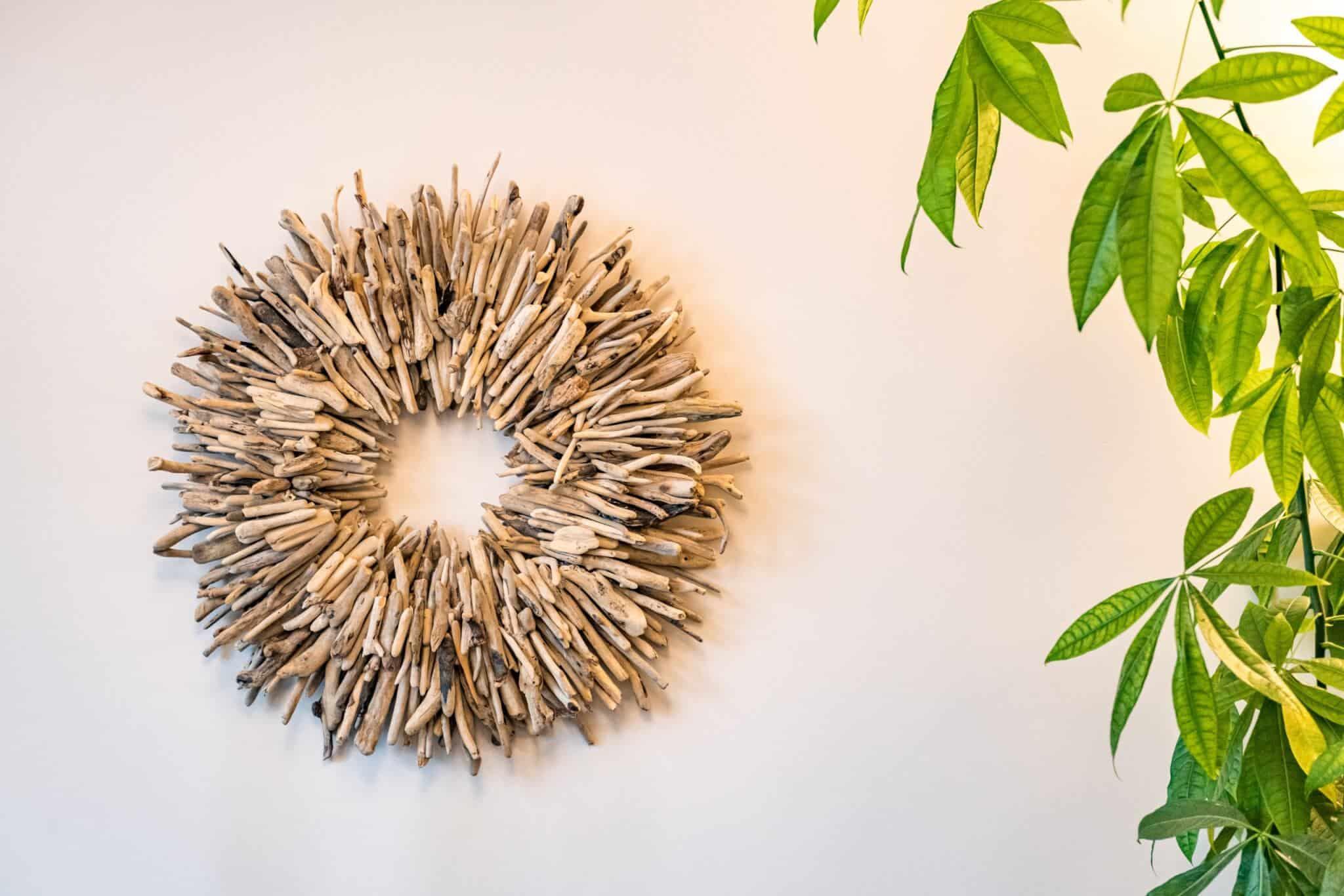 Stick wreath on wall