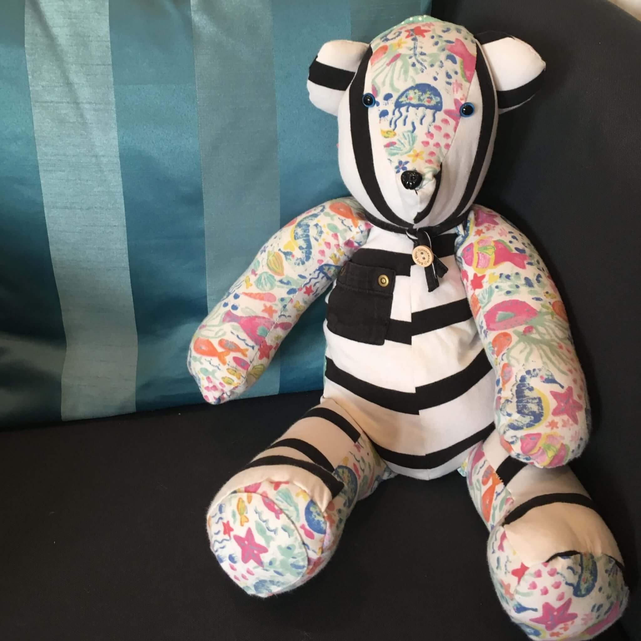 Teddy bear on sofa