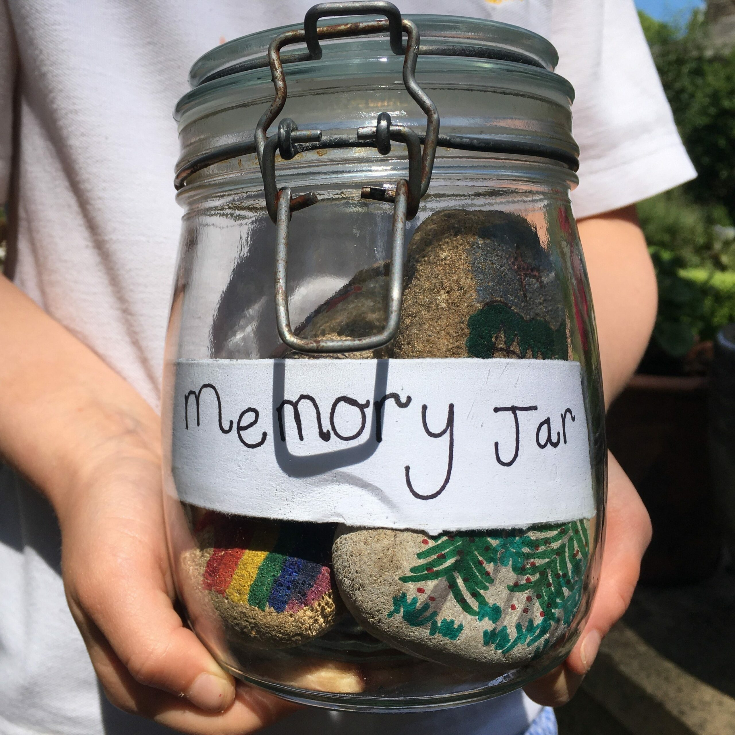Memory jar with rocks in