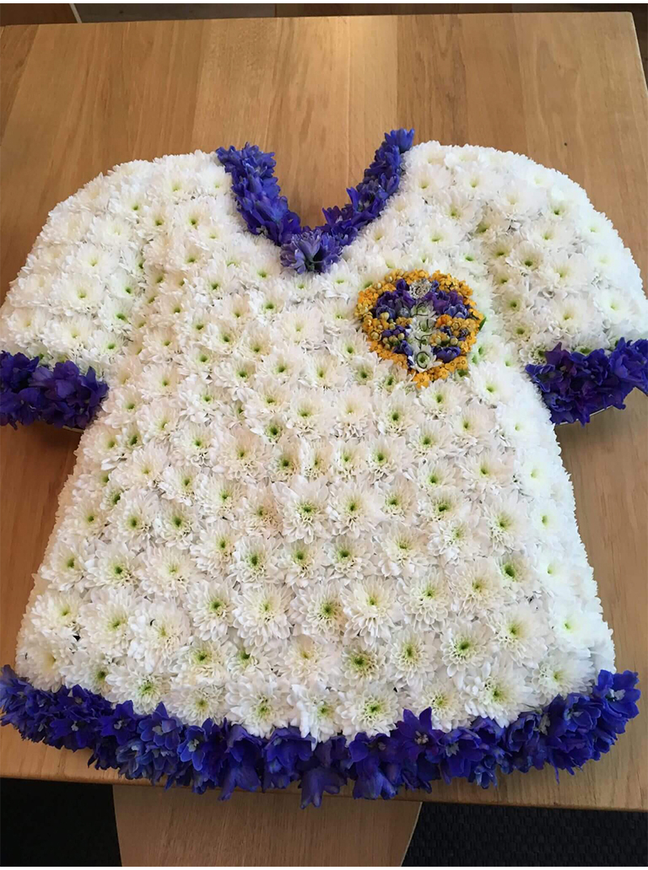 Flowers made up into a leeds shirt
