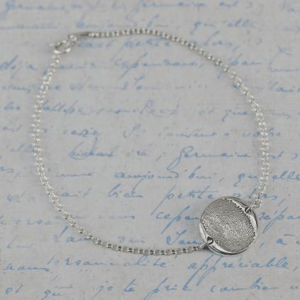 Fingerprint bracelet on silver chain